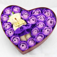 Heart box Bear Rose Flower Soap  Bouquet  Valentines Gift