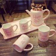 Creative Porcelain Tea Set Cartoon Ceramic Pot Teapot with Infuser Tea Mug Party Teatime Drinkware