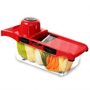 Vegetable Slicer Cutter of 6 Interchangeable Blades with Peeler Hand Protector Storage Container