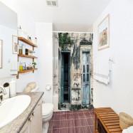 Nostalgic Wooden Door Pattern Polyester Shower Curtain Bathroom 3D Printing