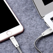 HOCO U11 2.4A 8 Pin Zinc Alloy Texture Reflective Braided Transfer Data Charging Cord with Light for iPhone 1.2M