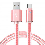 HOCO UPL12 2.4A  Aluminum Alloy Jelly Texture Type-C Braided Transfer Data Synchronization Charging Cord with Light 1.2M