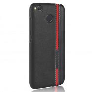 Mixed Colors Stripe Patchwork PU Leather+Plastic Hard Case for Xiaomi Redmi 4X