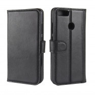 Solid Color Real Cow Leather Wallet Style Front Buckle Flip Case with Card Slots for Xiaomi Mi A1