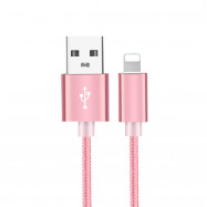 1M 8PIN Pure Coloured Woven Data Cable ( Rose Gold) for iPhone
