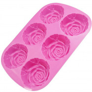 6 Rose Handmade Soap Mold Silicone Cake Chocolate Jelly Pudding Ice Pan