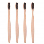 4PCS Environmentally Bamboo Charcoal Infused Toothbrush with Soft Nylon Bristles