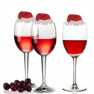 YEDUO Table Place Cards Christmas Santa Hat Wine Glass Decoration