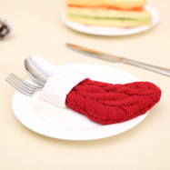 YEDUO Red Knitted Socks Christmas Cutlery Holder Knife Fork Cover Bags
