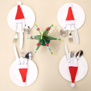 YEDUO  Tableware Knife Fork Christmas Decoration Hat Tool