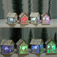 DIY LED Christmas Tree House Style Fairy Lights Hanging Decor Wood House