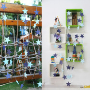 Colorful 4m paper string star wedding decoration pull-up party Pentagon hanging