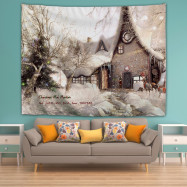 Snowy House Printing Home Wall Hanging Tapestry for Decoration
