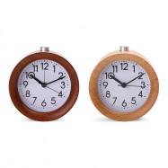 Circular Digital No Ticking Snooze Backlight Wood Clock