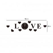 DiY Love Background Mirror Crystal Wall Sticker Clock