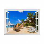 Sandy Beach Landscape Removable Environmental Wall Sticker