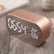 LED Alarm Clock with FM Radio Wireless Bluetooth Speaker Support Aux TF for Office Bedroom