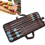 Outdoor BBQ Roasting Pin Barbecue Fork U Shape Wooden Handle Picnic Skewers 7pcs