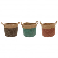 Woven Hemp Rope Storage Basket with Handles for Clothes Towels