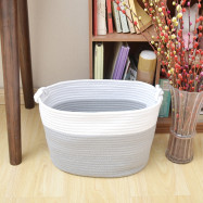 Natural Cotton Thread Woven Rope Storage Basket with Handle