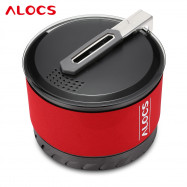 ALOCS Outdoor Camping Stainless Steel Pot with Lid Bowl Cup Set for 1 - 2 Person