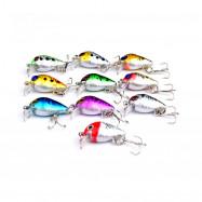 10 PCS Mini Fishing Lures 10 Colors Fishing Bait 2.6CM / 1.6G Fishing Tackle 10 High Carbon Steel Treble Hook