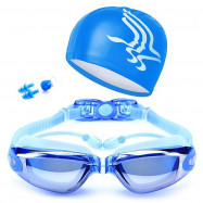 HD Waterproof Anti-fog Integrated Earplugs Swimming Glasses Swim Cap Nose Clip