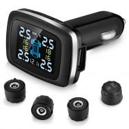 ZEEPIN C100 Tire Pressure Monitoring SystemCigarette Lighter Plug TPMS LCD Screen Display 4 External Sensors