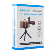APEXEL APL - HS12XDG3ZJ 12X Zoom Telephoto + 0.63X Wide Angle + 198 Degree Fisheye + 15X Macro Lens + Tripod 5 in1 Clip External Phone Camera