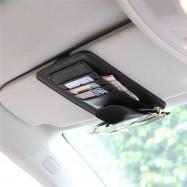 PU Leather Car Sun Visor Multifunctional Glasses Pen Clip Holder