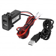 Dual USB Car Charger with Audio Port Interface LED Lamp for Toyota