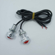 2PCS 18MM Auto Car Eagle Eye Lamp 1.5W COB Red LED Daytime Running Light Silver
