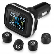 ZEEPIN C110 Tire Pressure Monitoring System Cigarette Lighter Plug TPMS Angle-adjustable Display 4 External Sensors