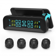 AutoLover C260 Tire Pressure Monitoring System Solar TPMS Universal Real-time Tester LCD Screen with 4 External Sensors