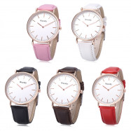 WEESKY 699 Unisex Quartz Watch Leather Band Nail Shape Scale Wristwatch