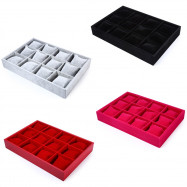 12 Grids Flocking Material Watch Case Jewelry Display Box