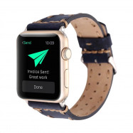 For 42mm iWatch Band Handmade Genuine Leather Strap with Stainless Metal Clasp Series 3  2  1 All Models BLUE