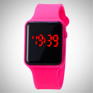 V5 Brand Unisex Rubber LED Date Sports Bracelet Digital Wrist Watch ROSE RED