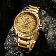 NAVIFORCE Luxury Brand Men Stainless Steel Wrist Watches GOLD
