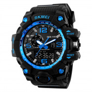 SKMEI Men Sport Digital Watch with Chronograph Double Time Alarm Light BLUE