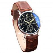 Men Luxury Leather Analog Quartz Business Wrist Watch BROWN