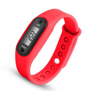 Digital LCD Silicone Band Pedometer Distance Calorie Counter Sport Watch RED