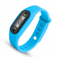 Digital LCD Silicone Band Pedometer Distance Calorie Counter Sport Watch BLUE