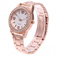 Female Simple Fashionable Quartz Watch with Artificial Diamonds ROSE GOLD