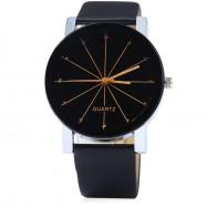 REEBONZ Fashion Sun Rays Quartz Watch BLACK