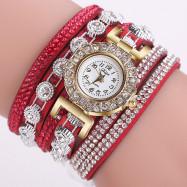 DUOYA D196 Women Wrap Quartz Wrist Watch with Diamond RED