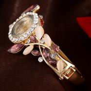 Lvpai P041 Women Unique Crystals Bangle Quartz Watches BROWN