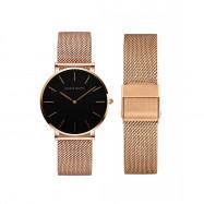 Fashion Furnace Gold Plating Waterproof Women Steel Wrist Watch MULTI-D