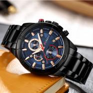 CURREN Men's Luxury Fashion Creative Quartz Large Dial Dress Watch LAPIS BLUE