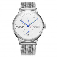 GUANQIN Business Steel Net Band Men Automatic Mechanical Watch SILVER WHITE